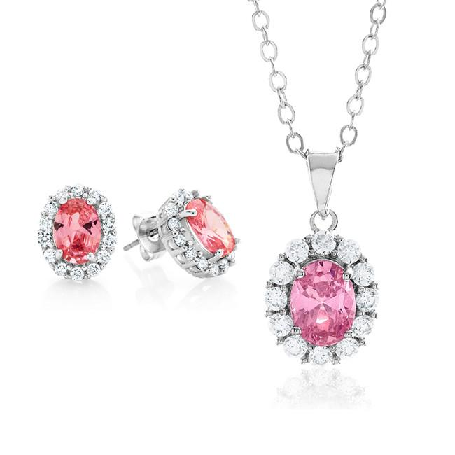 Pink & White Cubic Zirconia Fashion Pendant & Earring Set