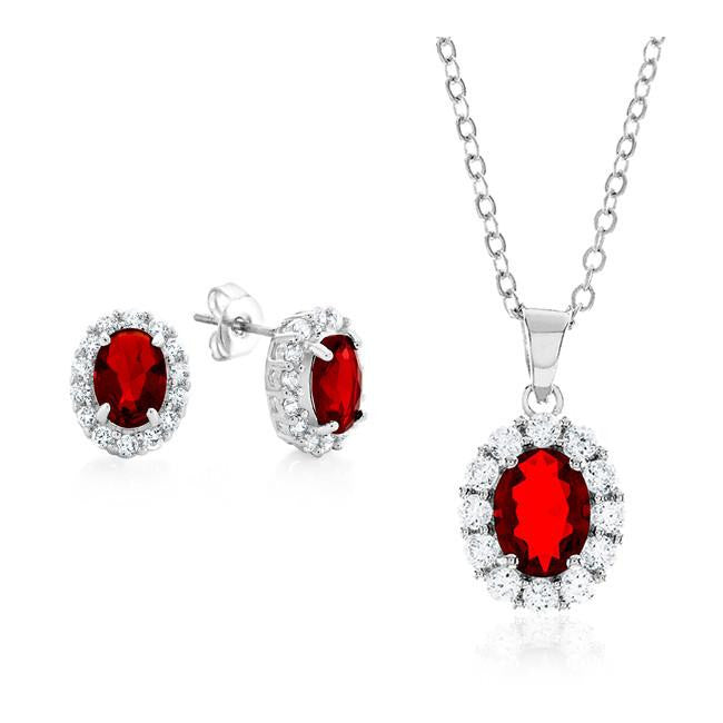 Red & White Cubic Zirconia Fashion Pendant & Earring Set