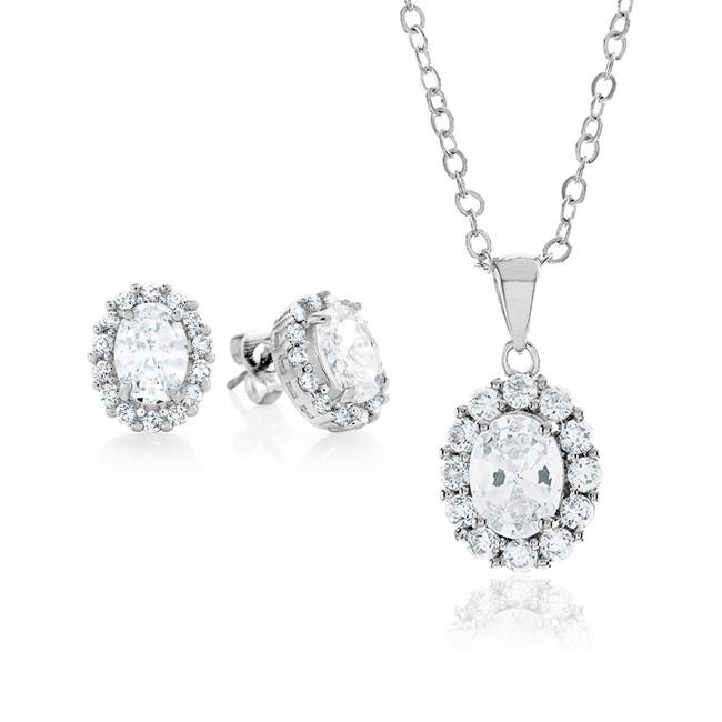 White Cubic Zirconia Fashion Pendant & Earring Set