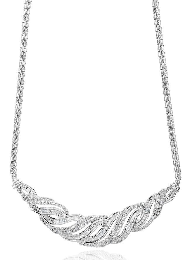 "0.50 Carat Diamond Twisted Ensemble Necklace in White Gold Over Bronze with 18"" Chain"