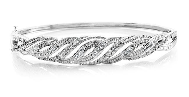 1/2 Carat Diamond isted Ensemble Bangle Bracelet Platinum Over Bronze - 7.5""