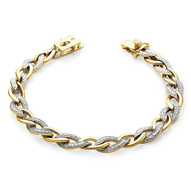 Diamond Accented Two-Tone Oval Link Bracelet in 14K Gold/Bronze  - 7.25""
