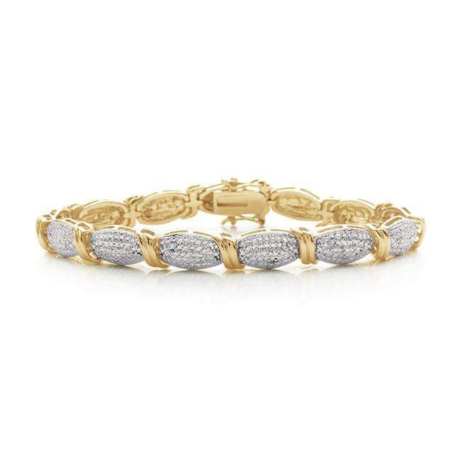 Diamond Accented Two-Tone  Bracelet in 14K Gold-Plated Brass - 7.25""