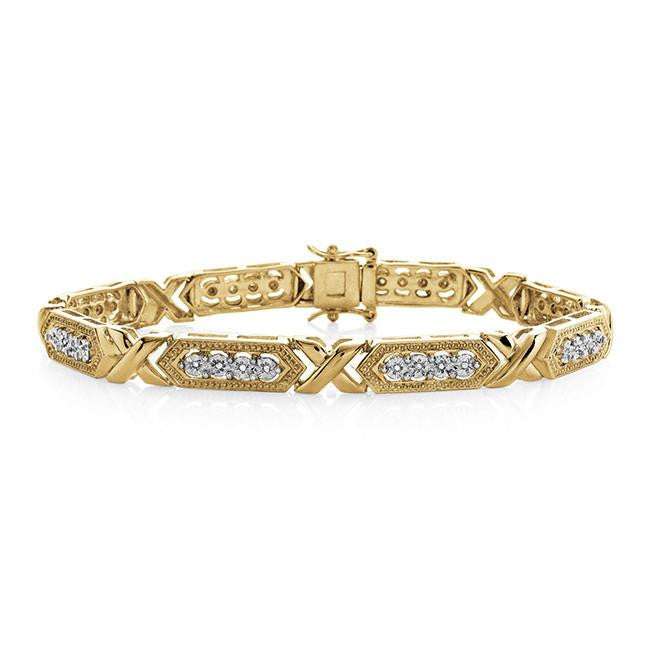 Two-Tone Miracle Plated Bracelet in Gold Over Bronze with Diamond Accents - 7.25""