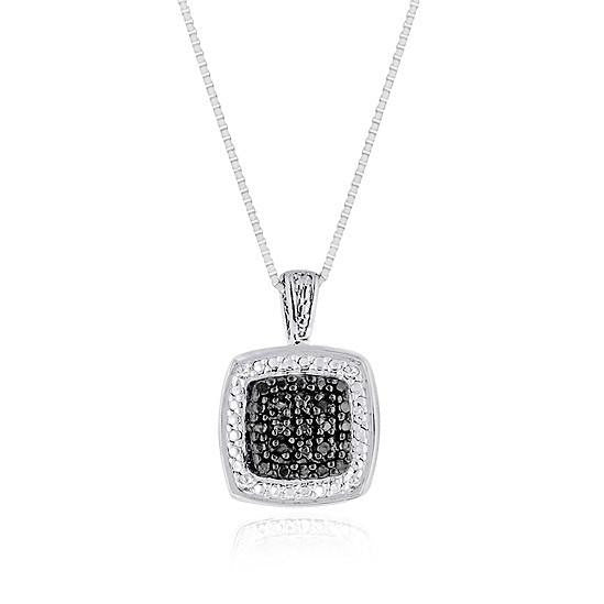 0.08 Carat Black & White Diamond Square Pendant in White Gold Plating with chain