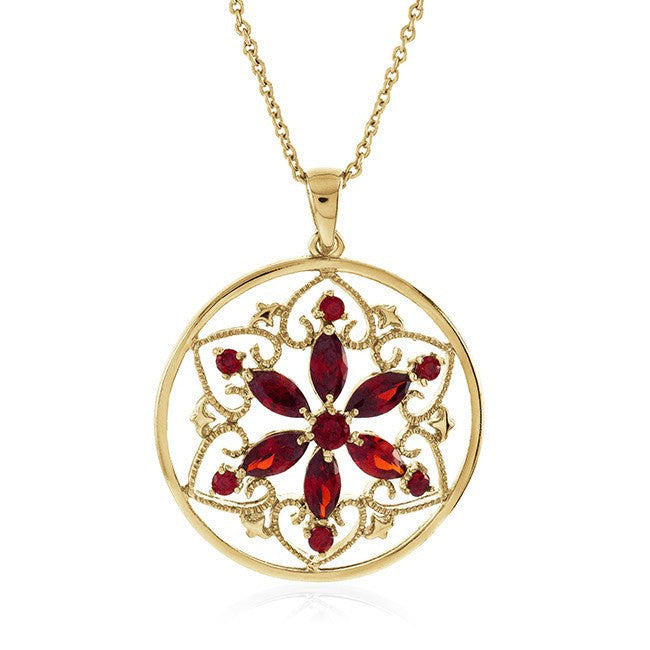 Garnet Flower Pendant in 18K Gold Overlay with Chain
