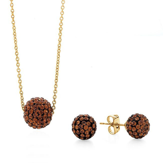 Brown Crystal Glitter Ball Pendant with Chain and Earring Set in Gold-Plating