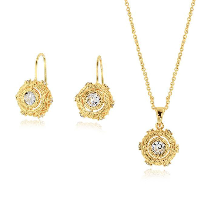 Gold-Plated Bronze Cubic Zirconia Necklace & Earrings Set
