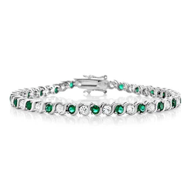 7.90 Carat  Emerald CZ  Fashion Tennis Bracelet - 7.25""