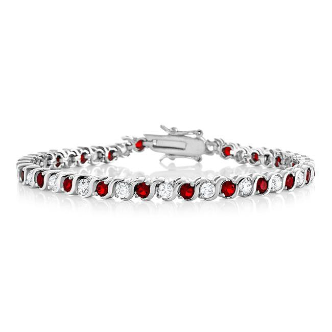 8.00 Carat Ruby CZ Fashion Tennis Bracelet - 7.25""