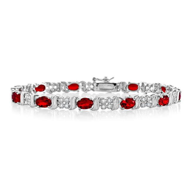 8.65 Carat Ruby & CZ Fashion Bracelet - 7.25""