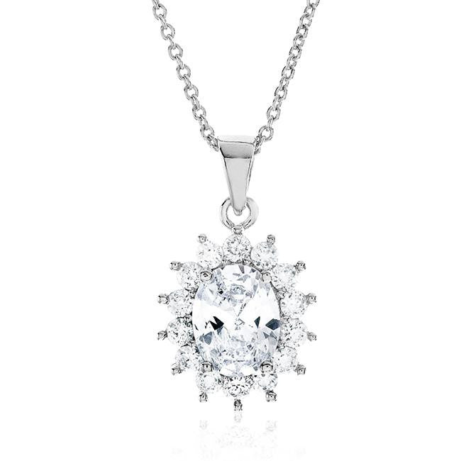 "White Cubic Zirconia Fashion Starburst Pendant with 18"" Chain"