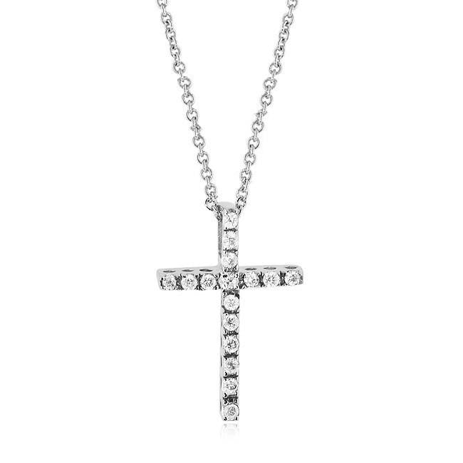 "1.00 Carat Cubic Zirconia Fashion Cross Pendant with 18"" Chain"
