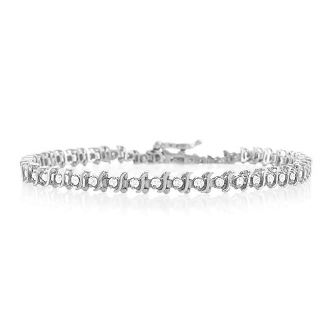 1.00 Carat Diamond S-Link Tennis Bracelet in 14K White Gold (I2-I3/J-K) - 7""