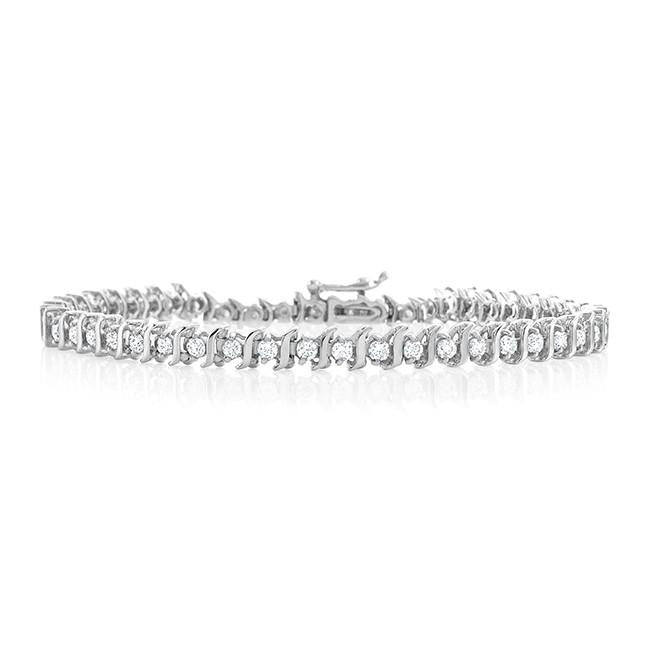 2.00 Carat Diamond S-Link Tennis Bracelet in 14k White Gold (I1-I2/H-I)