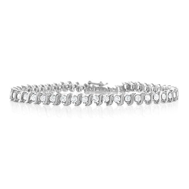 3.00 Carat Diamond S-Link Tennis Bracelet in 14k White Gold (I1-I2/H-I) - 6.5""