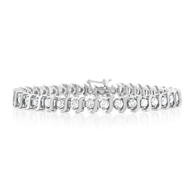 4.00 Carat Diamond S-Link Tennis Bracelet in 14k White Gold (I1-I2/H-I)