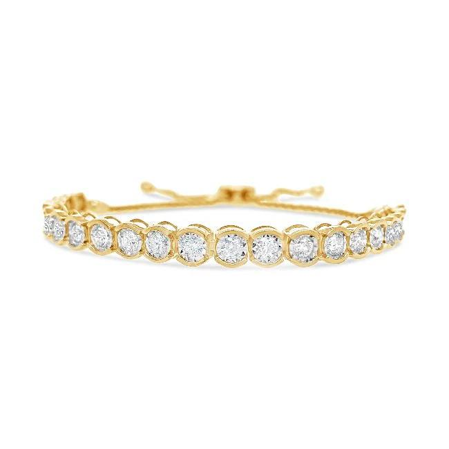 2.00 Carat Diamond Bolo Bracelet in 14K Yellow Gold