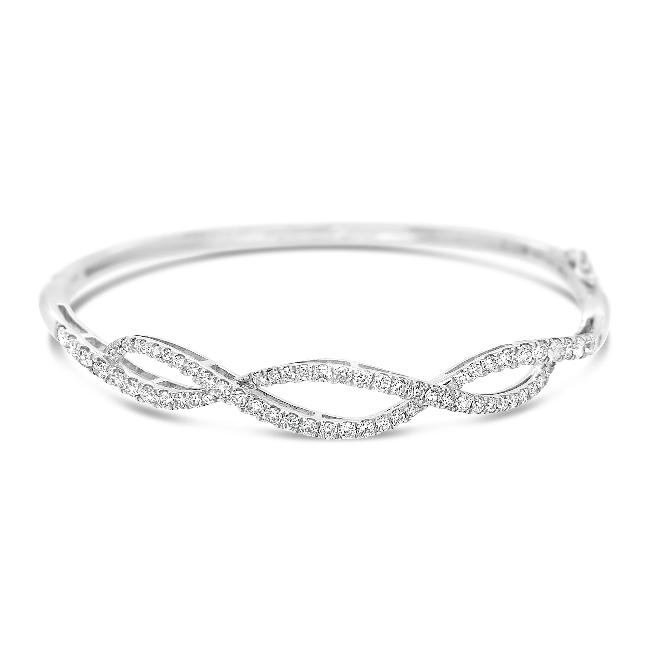 1.00 Carat Diamond Fashion Bangle Bracelet  in 14K White Gold - 7""