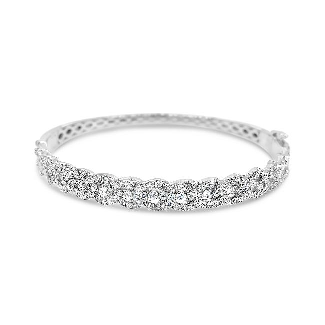 2.00 Carat Diamond Bangle in 14K White Gold - 7""