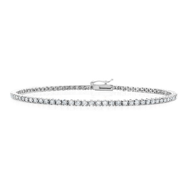 2.00 Carat Diamond Straight Link Tennis Bracelet in 14k White Gold (I2-I3/I-J)
