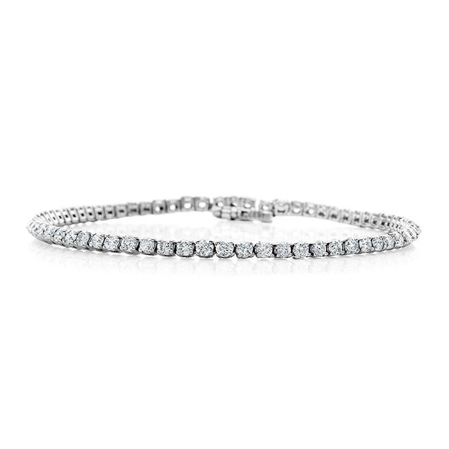 3.00 Carat Diamond Straight Link Tennis Bracelet in 14k White Gold (I2-I3/I-J)