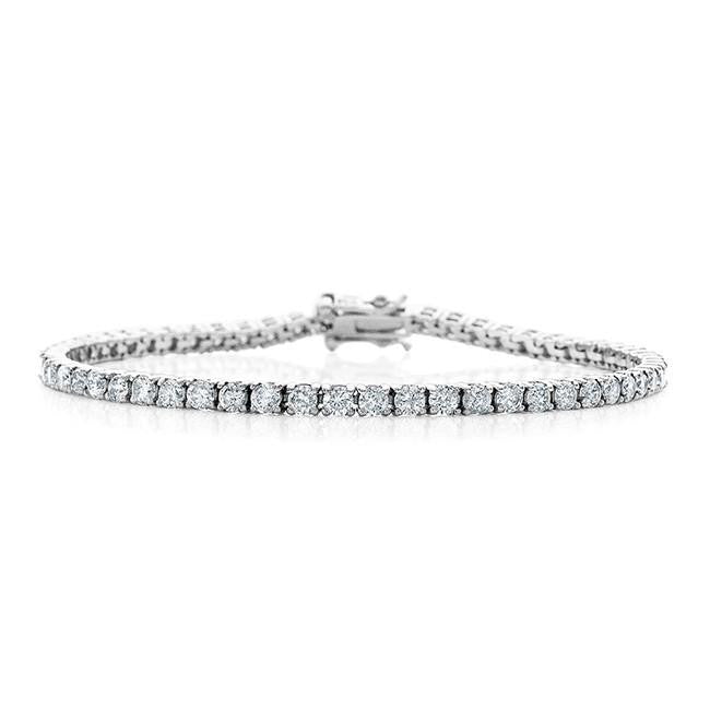 4.00 Carat Diamond Straight Link Tennis Bracelet in 14k White Gold (I2-I3/I-J)
