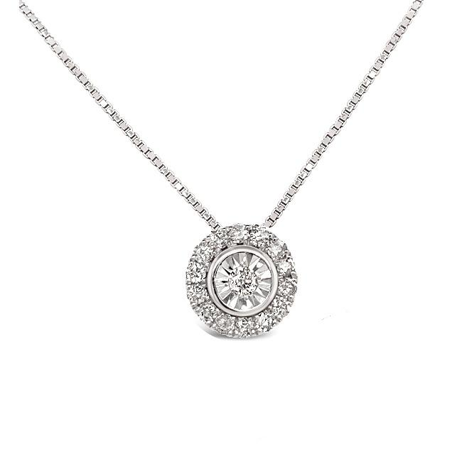 0.40 Carat Diamond Halo Pendant in 14K White Gold