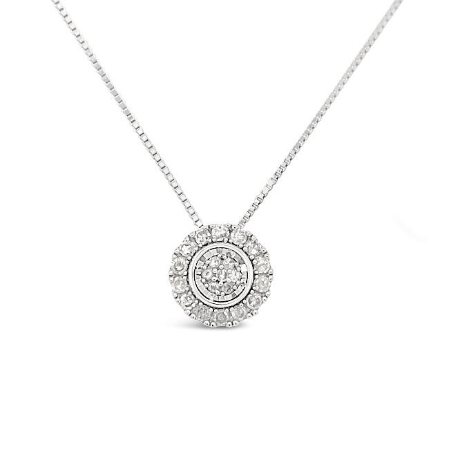 1/6 Carat Diamond Halo Pendant in 14K White Gold