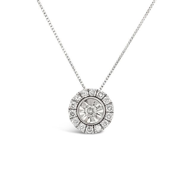 1/3 Carat Diamond Halo Pendant in 14K White Gold