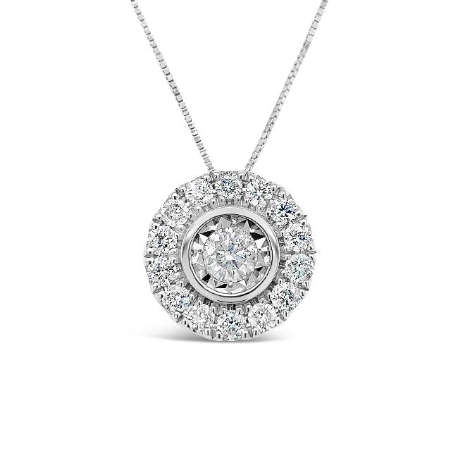 1.00 Carat Diamond Halo Pendant in 14K White Gold - 18""