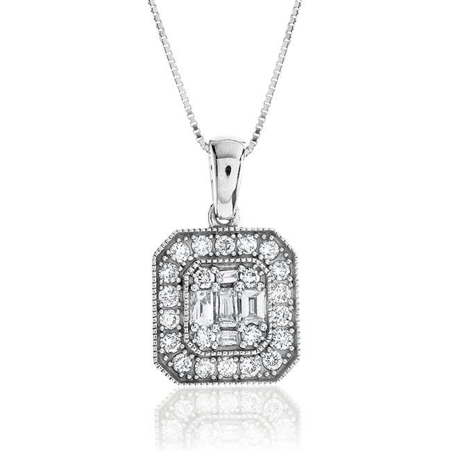 "0.50 Carat Diamond Pendant in 14K White Gold with 18"" Chain"