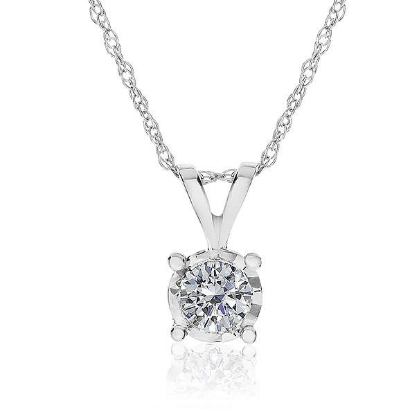 1/5 Carat Diamond Solitaire Pendant in 14K White Gold with Chain
