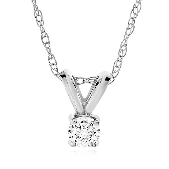 1/3 Carat Diamond Solitaire Pendant in 14K White Gold with Chain - 18""