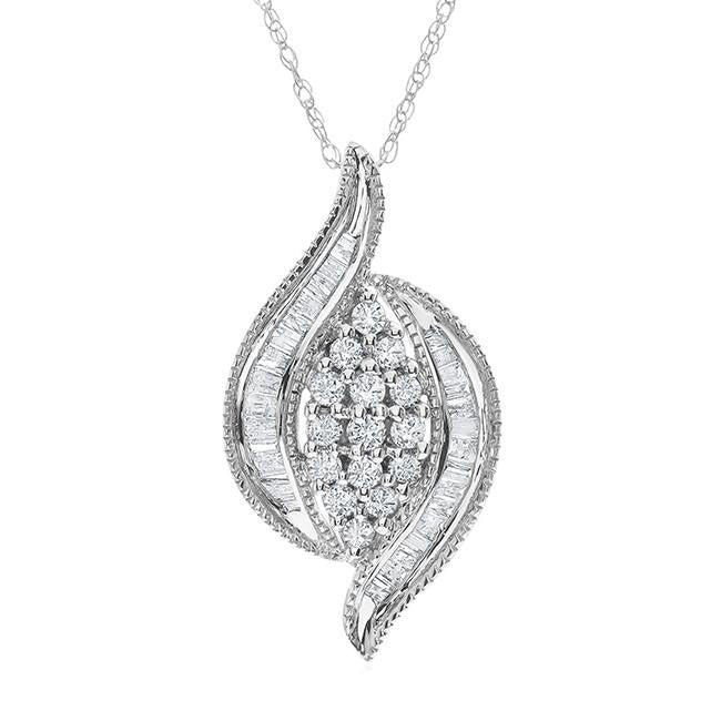 "1/2 Carat Diamond Cluster Pendant in 14K White Gold with 18"" Chain"