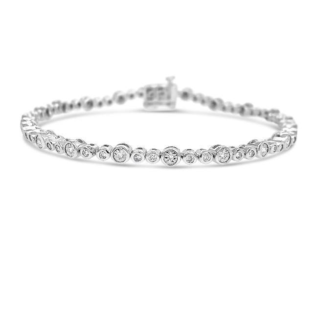 0.75 Carat Diamond Bracelet in 14K White Gold (H-I/I2) - 07.5""