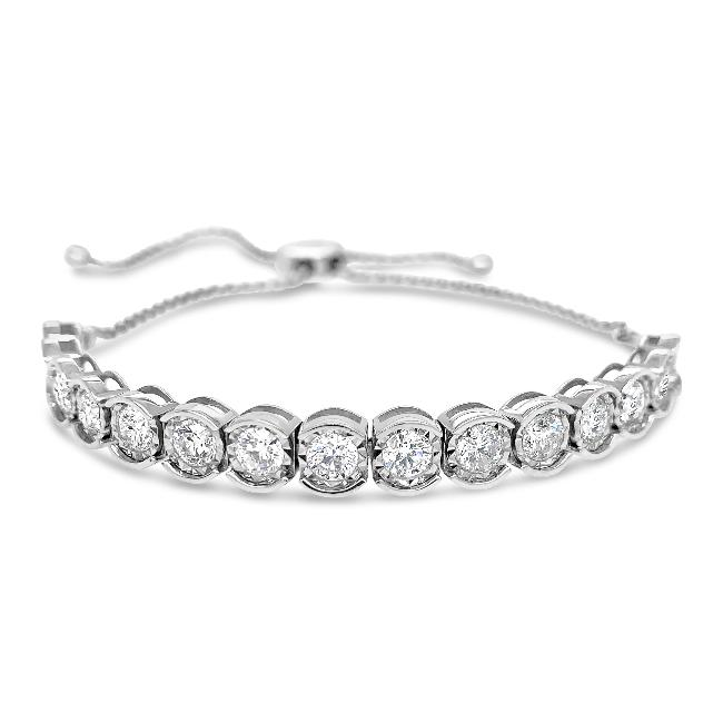 3.00 Carat Diamond Bolo Bracelet in 14K White Gold