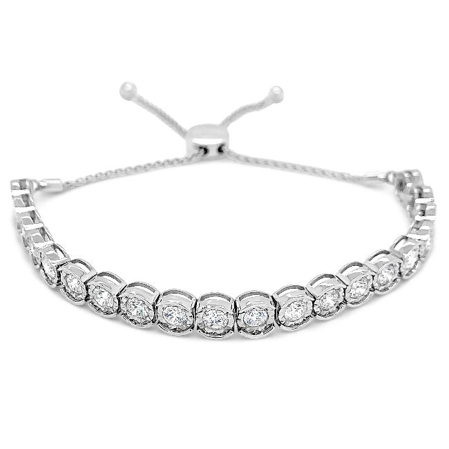 4.00 Carat Diamond Bolo Bracelet in 14K White Gold