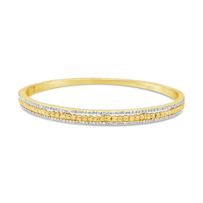 3/4 Carat Diamond & Beaded Fashion Bangle Bracelet in 10K Yellow Gold - 7.25""