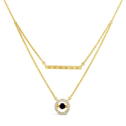 10K Yellow Gold 1/10 Carat Diamond & Created Ceylon Sapphire Layered Necklace - 17""