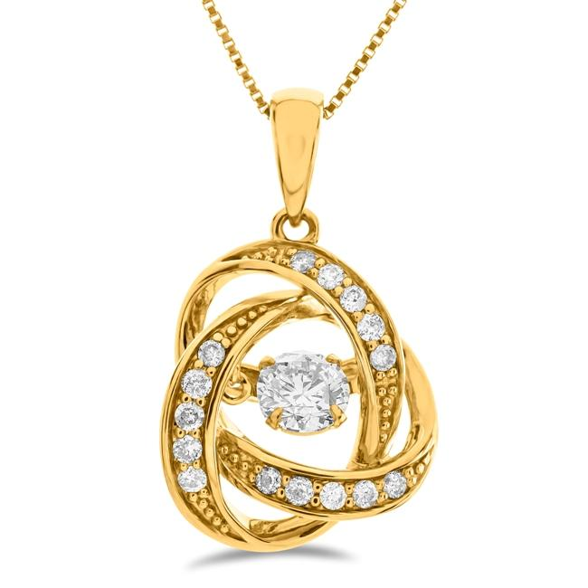 "1/2 Carat Knot Diamond Pendant in 10K Yellow Gold with 18"" Chain"