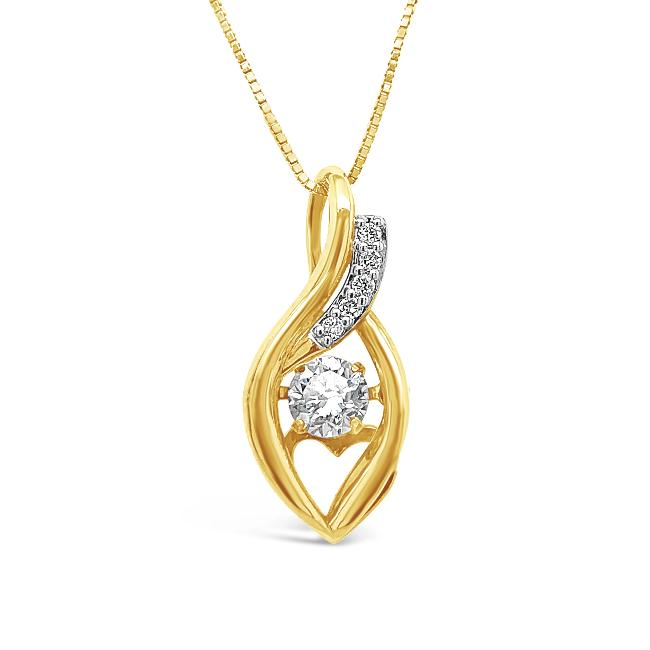 1/3 Carat Diamond Pendant in 10K Yellow Gold -18""