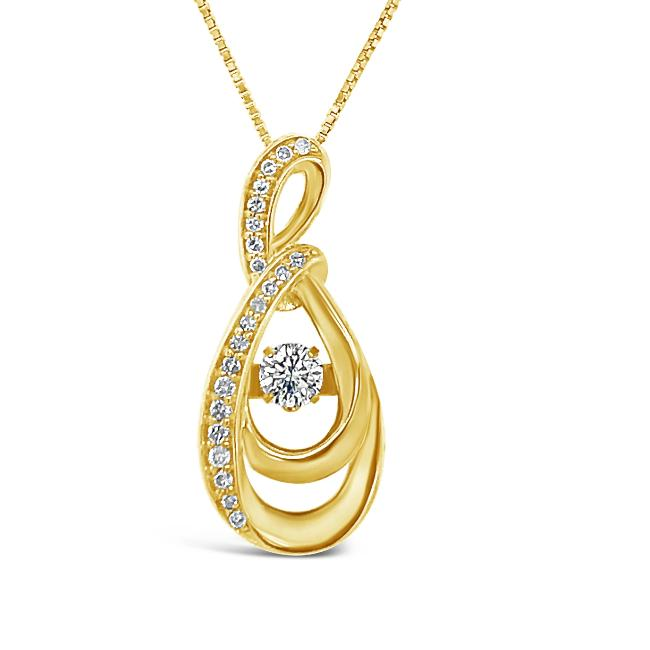 "1/4 Carat Diamond Infinity Pendant in 10K Yellow Gold with 18"" Chain"