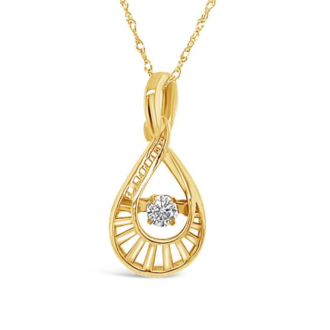 "1/10 Carat Diamond Pendant in 10K Yellow Gold with 18"" Chain"