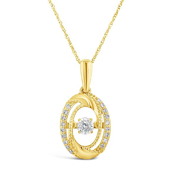 "1/6 Carat Diamond Oval Pendant in 10K Yellow Gold with 18"" Chain"