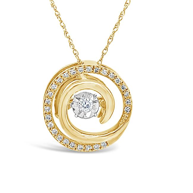 "1/8 Carat Diamond Pendant in 10K Yellow Gold with 18"" Chain"