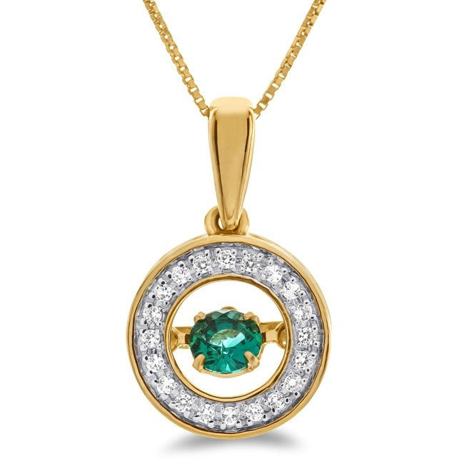 Created Emerald & White Sapphire Pendant in 10K Yellow Gold - 18""