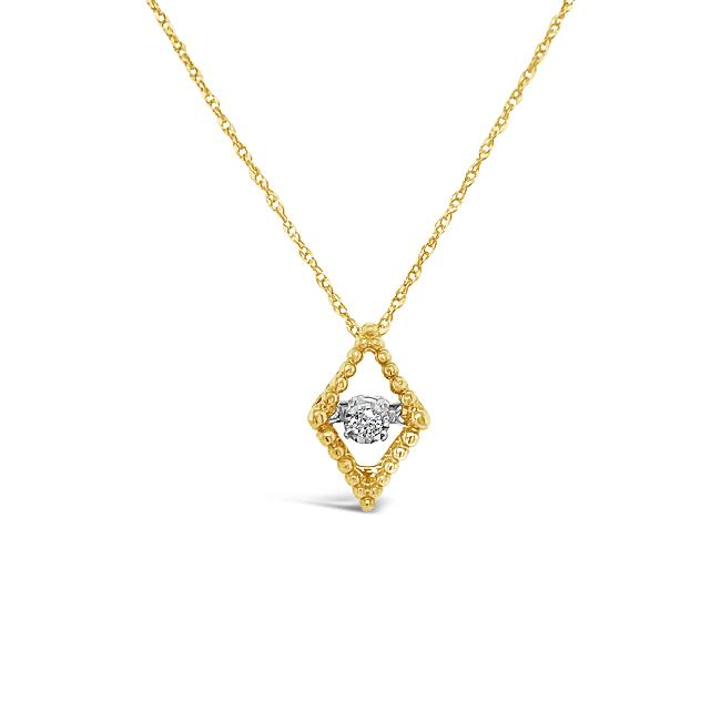 "10K Yellow Gold Diamond Accent Marquise Pendant with 18"" Chain"