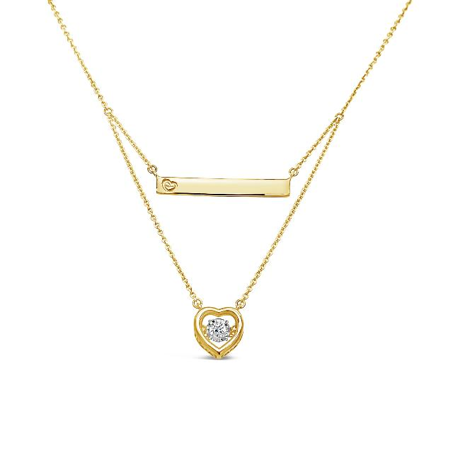 1/10 Carat Diamond Heart & Bar Layered Necklace in 10K Yellow Gold- 18""