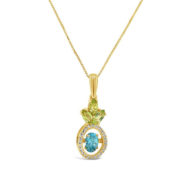"2.80 Carat Pineapple Shaped Gemstone Pendant in 10K Yellow Gold with 18"" Chain"